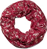 styleBREAKER Loop Schlauchschal mit Paisley Metallic All Over Print Muster, Schal, Tuch, Damen 01016123, Farbe:Bordeaux-Rot