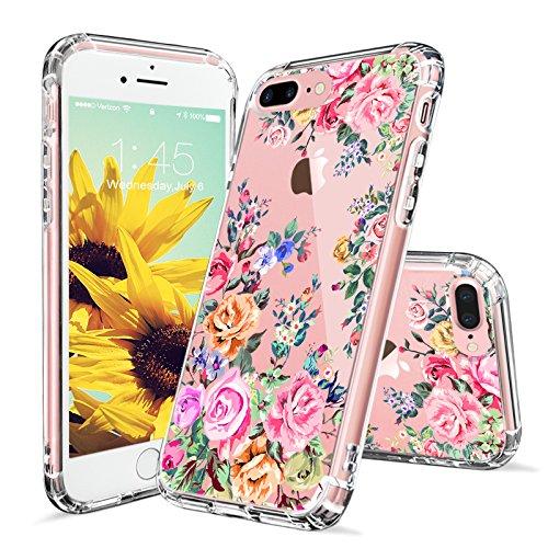 iPhone 8 Plus Hülle, iPhone 7 Plus Hülle, MOSNOVO Tropisch Kaktus Muster TPU Bumper mit Hart Plastik Hülle Durchsichtig Schutzhülle Transparent für iPhone 7 Plus / iPhone 8 Plus (Kaktus) Rose Garden