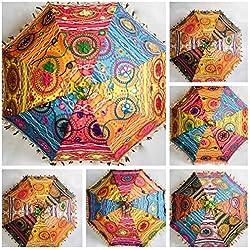 Sombrilla Decorativa de algodón Indio Bordado para Mujer, de protección contra el Sol, con diseño de Mandala. Gama sombrillas baratas.