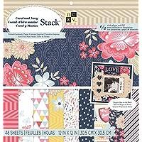 Die Cuts with View - 48 fogli di carta decorativa, 30 x 30 cm, colore: corallo/blu navy, motivi assortiti