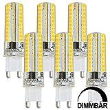 MENGS® 6 Stück Dimmbar G9 7W LED Lampe Warmweiß 3000K AC 220-240V 80x2835 SMD Mit Silikon Mantel