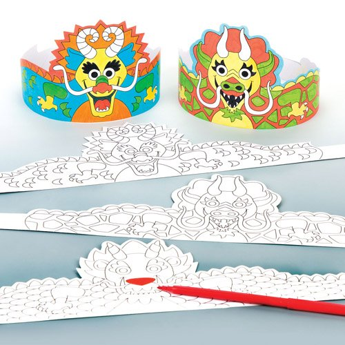 Kronen zum Ausmalen 'Chinesischer Drache' für Kinder als Bastel- und Deko-Idee zum Gestalten für Jungen und Mädchen (6 Stück)