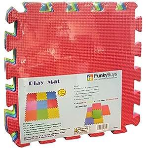 Funky Buys Eva Tapis de jeu en mousse pour enfant composé de 9 pièces à clipser