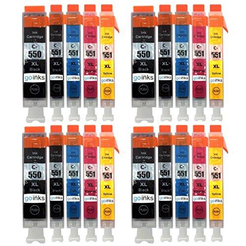 Go Inks C-550 & C-551 Cartouches d'encre Compatible pour remplacer Canon PGI-550 & CLI-551 pour une utilisation avec les imprimantes Canon PIXMA (Lot de 20)