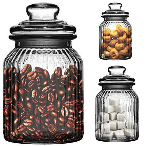 Set Of 3 990ml Ornate Ribbed Glass Tea Coffee Sugar Candy Bonbon Sweet Biscuit Storage Jars New by Prime Homewares
