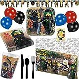 HHO Lego Ninjago Partyset 72tlg. Teller Becher Servietten Tischdecke Banner Besteck Luftballons für 8 Kids