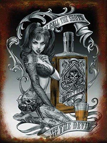 alchimia. I chiamata il bicchierini, voi pay il diavolo. Sexy tatuato donna, lecca-lecca. tatuaggio. devil's rugiada. whisky. Maiale code, bra, slip, biancheria intima. pistola. Ideale per garage, shop, Tatuaggio parlor, barrette o pub. Metallo/Targa Da Parete In Acciaio - 20 x 30 cm