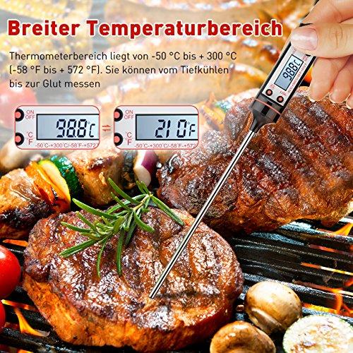61GW%2BdHsHlL - Grillthermometer TOPELEK 2 Stücke Fleischthermometer Digitale Küchenthermometer Haushaltsthermometer Bratenthermometer sofort lesbar mit langer Sonde, LCD-Bildschirm. Ideal für BBQ,Baby-Ernährung.