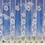 Cortina de visillo para ventana - Con jareta - Se vende por metro - Color blanco - margarita - 206 cm