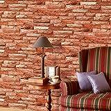 WANGHH Amerikanischen Ziegel Textur Hintergrundbild Wasserdicht Scrubable Gang Kamin Veranda Tapete,E-10m*0.53m=5.3²m/Roll