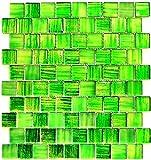 Mosaik Fliese Transluzent Glasmosaik Crystal Struktur grün klar gefrostet für WAND BAD WC DUSCHE KÜCHE FLIESENSPIEGEL THEKENVERKLEIDUNG BADEWANNENVERKLEIDUNG Mosaikmatte Mosaikplatte