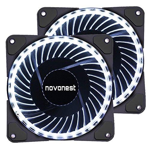 novonest Gehäuselüfter 120-LED Quiet Edition 120mm High Airflow Weiß LED Lüfter,33LED,2 Stueck pro Packung