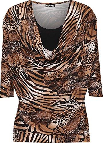 WearAll - Taille Plus Imprimer col bénitier manches courtes Insérer Top - Hauts - Femmes - Tailles 42 à 56 Mocha Noir