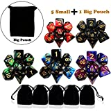 Polyedrische Würfel Set DnD würfel - 5 X 7 Polyedrischen Spielwürfel mit Schwarz Beutel fü r Dungeons und Drachen DND RPG MTG D20 D12 D10 D8 D6 D4 Tischkartenspiele