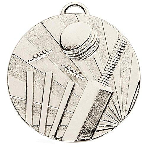 50 mm Cricket-Medaille Silber mit Kostenloser Gravur bis zu 30 Buchstaben + gratis Band