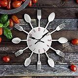 dufgbiWanduhr Löffel Küchenlöffel Kreative MetallWanduhr Design Moderne Dekorative Uhr, A4