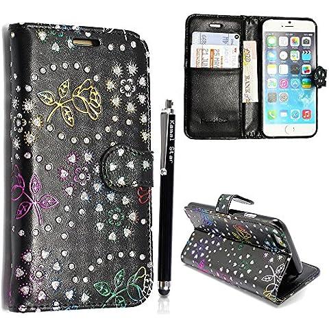 Kamal Star® Apple iPhone 4 4S PU Leather Cuero con Tarjeta de Crédito Slots Funda Wallet Carcasa Cover + Stylus (Rose Black Diamond
