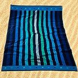 Burrito Blanco Toalla de Playa/Toalla de Piscina 174 Grande para Hombre o Mujer Algodón 100% Tacto de Terciopelo de 95x170 cm con Estampado de Rayas, Azul