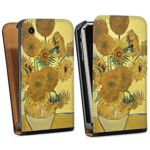 Apple iPhone 5 Housse étui coque protection Vincent van Gogh Tournesols Art Sac Downflip noir