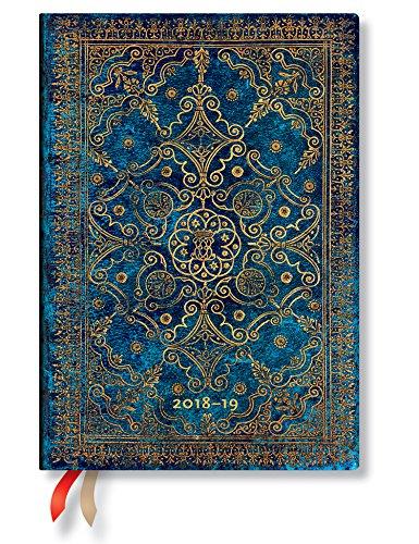 Paperblanks - Equinoxe Azurblau - Kalender 18 Monate 01.07.2018 bis 31.12.2019 Midi Wochenüberblick Horizontal - deutschsprachige Ausgabe