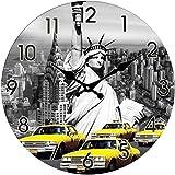 Glas Uhr Amerika Statue of Liberty & New York Taxi Durchmesser 28 cm, Wanduhr im Vintage Look mit Freiheitsstatue Motiv, ausgefallenes Geschenk für USA und Retro Fans