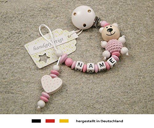 Baby SCHNULLERKETTE mit NAMEN | Schnullerhalter mit Wunschnamen - Mädchen Motiv Bär und Herz in weiss