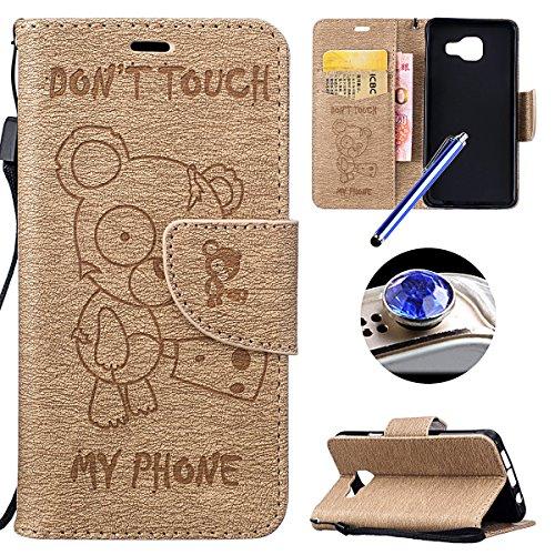 [LG K7] Cuir Flip Coque,LG K7 Housse de Téléphone en Cuir, Etsue Retro Panda Motif Portefeuille en Cuir Folio Couverture de Case par Fermeture Magnétiqueet avec Carte de Visite Dossier Fonction pour LG K7 + 1x Cordon + 1 x Bleu stylet + 1 x Bling poussière plug (couleurs aléatoires)-Panda Dorée