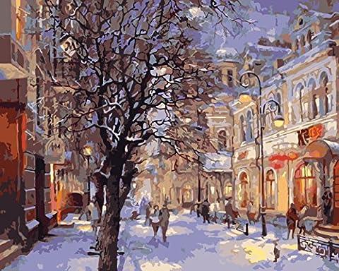 Obella Peinture par numéros Kits issu de la gamme Snow Street View 50x 40cm issu de la gamme Peinture par numéros numériques, peinture à l'huile, sans cadre