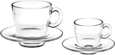 Pasabahce Aqua Servizio Tazze Caffè con Piatto, Vetro, Trasparente, 6 Pezzi