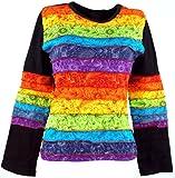 Guru-Shop Langarmshirt Regenbogen 4, Damen, Schwarz, Baumwolle, Size:S/M (36), Pullover, Longsleeves & Sweatshirts Alternative Bekleidung