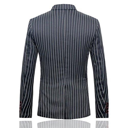 Herren Slim Fit Streifen Anzug 3-Teilig Freizeit Business Schwarz