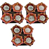 JERN Traditional Clay Handmade Decorative Diwali Diya(Red Design Pack Of 12)