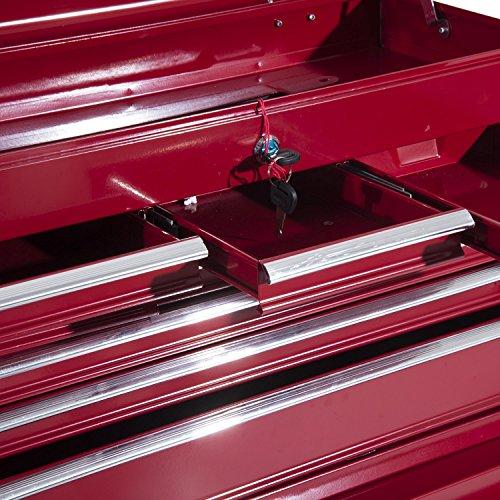 Homcom  Fahrbarer Werkzeugwagen Werkstattwagen Rollwagen Werkzeugkasten (Rot) - 4