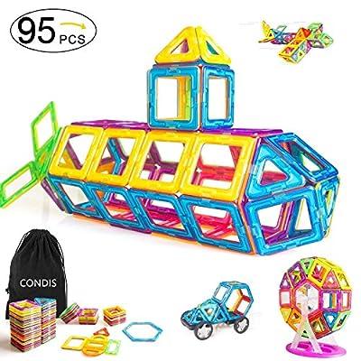 Condis 78 Piezas Bloques de Construcción Magnéticos para niños, Juegos de Viaje Construcciones Magneticas imanes Regalos cumpleaños Juguetes Educativos para Niños Niñas de 3 4 5 6 7 8 Años … de QM
