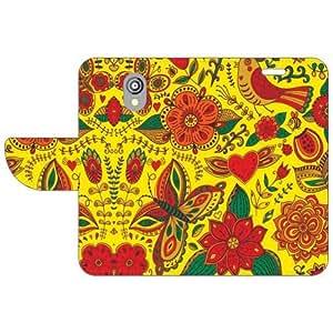 HTC Desire 526G Flip Cover - Yellow Designer Flip Cover