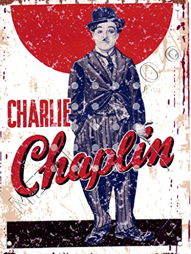 20,3 x 25,4 cm Charlie Chaplin Metall Schild retro vintage Stil 20,3 x 25,4 cm 20 x 25 cm Old Classic Film Movie Home Cinema Raum