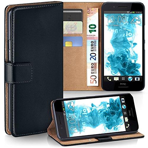 moex HTC Desire 728G   Hülle Schwarz mit Karten-Fach 360° Book Klapp-Hülle Handytasche Kunst-Leder Handyhülle für HTC Desire 728G Case Flip Cover Schutzhülle Tasche
