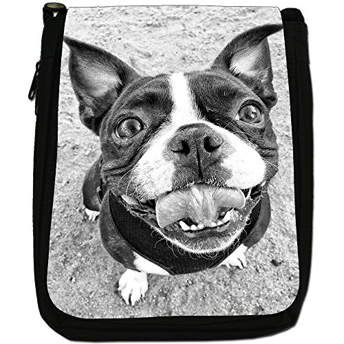 Boston Terrier Boston Bull Bosso Medium Nero Borsa In Tela, taglia M Smiling Happy Boston Terrier