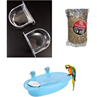Despacito® Bird Water Bath Tub Hanging Bowl with Mirror and Birds Feeder Food Mixed Seeds, Natural Seed for Birds with…
