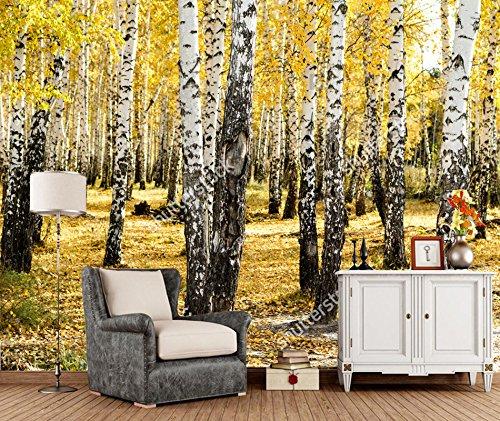 Yosot Natürliche Landschaft 3D-Tapeten Gelb Birke Wald Wandbild Für Restaurant Tagungsraum Sofa Hintergrundbild-450Cmx300Cm (Landschaft Birke Fenster)