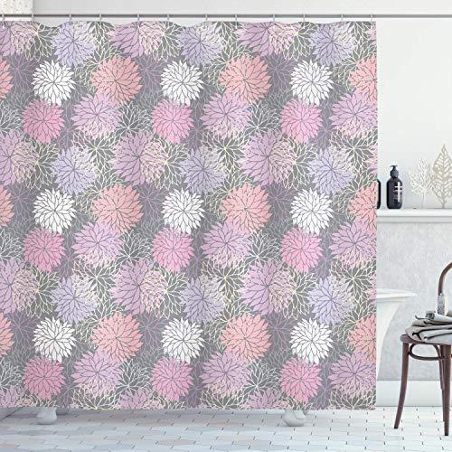 Vrupi Cortina baño Rosa Gris Planta floreciente Ramo
