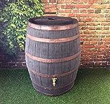 Tonneau récupérateur d'eau de pluie / 238 Une capacite d'un litre / Jacobean bière de tonneau Chêne foncé Grand récipient pour vrac liquide, métallique de jardin