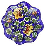 #3: Om Craft Villa Blue Pottery Ceramic Decorative Wall Hanging Handmade Plate (13 cm x 13 cm x 3 cm)
