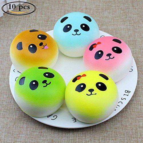 Yezelend 10 Stück Zufälliges Nettes Tier Langsam Aufgehende Squishy Spielzeug Hand Squeeze Spielzeug Anti-Stress Dekompression Pädagogisches Spielzeug (Panda) (Pädagogische Spielwaren Der Vorschule)