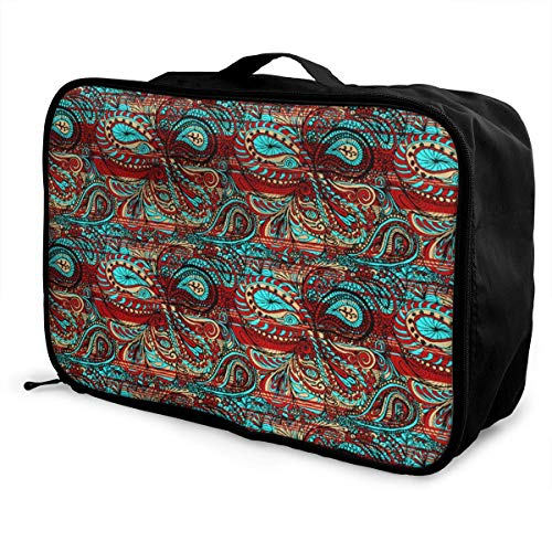 Portable Luggage Duffel Bag Paisley Bright Decorative Pattern Travel Bags Carry-on In Trolley Handle