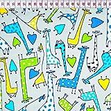 100% Baumwolle Baumwollstoff Kinder Kinderstoff Meterware Handwerken Nähen Stoff Tiermotiv 100x160cm 1 Meter (Giraffen Grau Herzen)
