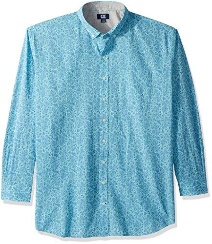 Cutter & Buck Herren Non-Iron Jameson Seersucker Print Long Sleeve Collared Shirt Button Down Hemd, Newport, Mittel -