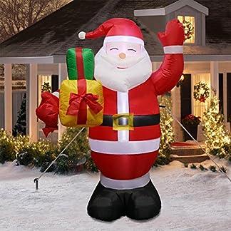 AerWo Saludos inflables Gigantes de Santa de los 5ft, Decoraciones inflables Lindas de la Navidad con el soplador para la decoración al Aire Libre de la Navidad