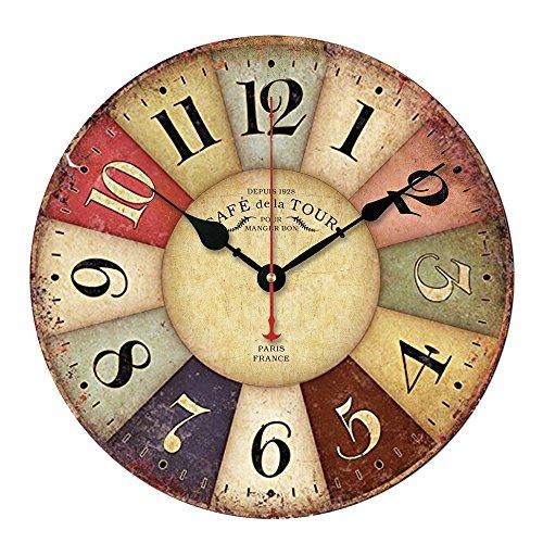 Japace® Silenzioso Orologio da Parete in Legno Stile Vintage per Cucina / Ufficio / Camera da Letto 34 Centimetri di Diametro