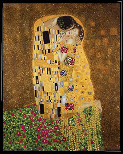 1art1 Gustav Klimt Poster Kunstdruck und Kunststoff-Rahmen - Der Kuß II (50 x 40cm)